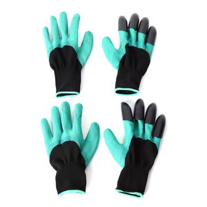 Green and Black Set of 2 Pairs Garden Genie Gloves (9.45x5.12 in)