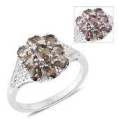 Bekily Color Change Garnet, Cambodian Zircon Platinum Over Sterling Silver Floral Ring (Size 5.0) TGW 2.37 cts.