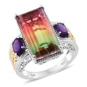 Rainbow Genesis Quartz, Amethyst 14K YG and Platinum Over Sterling Silver Ring (Size 8.0) TGW 16.70 cts.