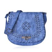 Denim Blue Faux Leather Laser Cut Flap Over Saddle Bag (8x2.5x9 in)