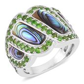Russian Diopside, Abalone Shell Sterling Silver Ring (Size 5.0) TGW 1.40 cts.