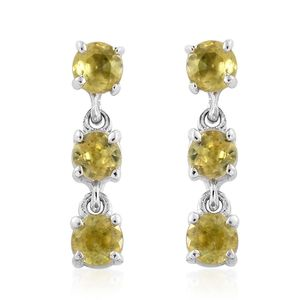 Madagascar Sphene Platinum Over Sterling Silver Dangle Earrings TGW 1.14 cts.