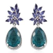 Belgian Teal Fluorite, Catalina Iolite Platinum Over Sterling Silver Earrings TGW 11.46 cts.