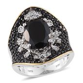 Thai Black Spinel, Cambodian Zircon 14K YG and Platinum Over Sterling Silver Ring (Size 7.0) ts. TGW 10.03 cts.
