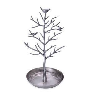 Antique Silvertone Bird and Tree Stand Jewelry Display (5.9x11.8 in)