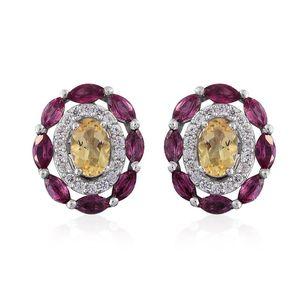 Marialite, Orissa Rhodolite Garnet, Cambodian Zircon Platinum Over Sterling Silver Stud Earrings TGW 2.49 cts.
