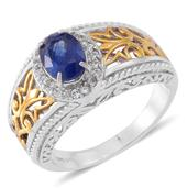 Masoala Sapphire, Cambodian White Zircon 14K YG Over and Sterling Silver Ring (Size 5.0) TGW 2.08 cts.