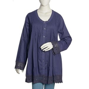 Blue 100% Cotton Long Sleeve Pleated Button Up Lace Tunic with Sweetheart Collar (2X)