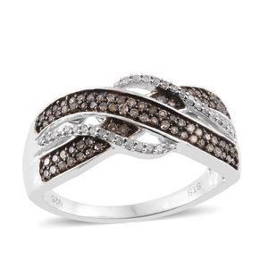 Champagne Diamond, Diamond Black Rhodium and Platinum Over Sterling Silver Ring (Size 9.0) TDiaWt 0.50 cts, TGW 0.50 cts.