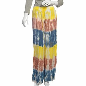 Yellow, Brown, and Blue 100% Viscose Tie Dye Elastic Palazzo with Drawstring (One Size)