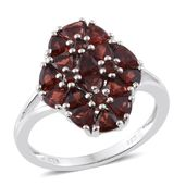 Mozambique Garnet Platinum Over Sterling Silver Floral Cluster Ring (Size 10.0) TGW 3.65 cts.