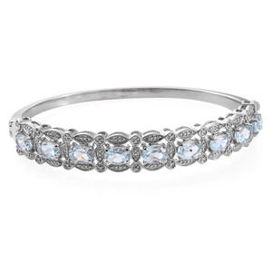 Sky Blue Topaz Stainless Steel Bangle (7.25 in) TGW 9.54 cts.