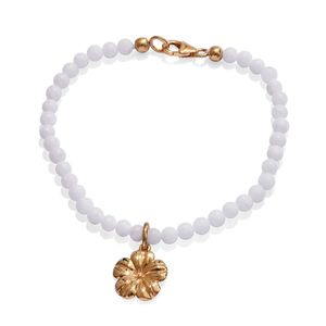 White Quartzite 14K YG Over Sterling Silver Bracelet with Floral Charm (7.50 In) TGW 30.00 cts.