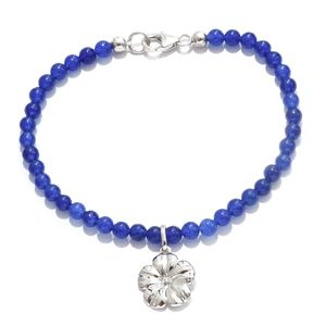 Blue Quartzite Platinum Over Sterling Silver Bracelet with Floral Charm (7.50 In) TGW 30.00 cts.