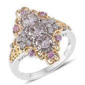 Marropino Morganite, Madagascar Pink Sapphire, Cambodian Zircon 14K YG and Platinum Over Sterling Silver Elongated Ring (Size 7.0) TGW 1.75 cts.