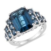 Tony's Collector Show London Blue Topaz Platinum Over Sterling Silver Ring (Size 9.0) TGW 10.73 cts.
