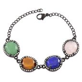 Multi Gemstone ION Plated Black Stainless Steel Station Bracelet (8.00 In) TGW 30.96 cts.