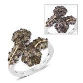 Bekily Color Change Garnet 14K YG and Platinum Over Sterling Silver Floral Bypass Ring (Size 7.0) TGW 3.58 cts.