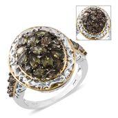Bekily Color Change Garnet, Thai Black Spinel 14K YG and Platinum Over Sterling Silver Cluster Ring (Size 8.0) TGW 3.64 cts.