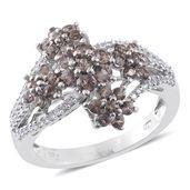 Bekily Color Change Garnet, Cambodian Zircon Platinum Over Sterling Silver Floral Ring (Size 7.0) TGW 2.49 cts.