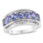 Tanzanite (2A), White Topaz Platinum Over Sterling Silver Ring (Size 6.0) TGW 3.10 cts.