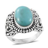 Kingman Turquoise Sterling Silver Ring (Size 7.0) TGW 5.25 cts.