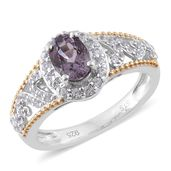 Burmese Lavender Spinel, Cambodian Zircon 14K YG and Platinum Over Sterling Silver Ring (Size 7.0) TGW 1.64 cts.