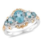 Madagascar Paraiba Apatite 14K YG and Platinum Over Sterling Silver Ring (Size 6.0) TGW 1.80 cts.