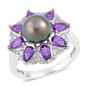 Tahitian Pearl, Amethyst, White Zircon Sterling Silver Daisy Flower Ring (Size 7.0) TGW 1.73 cts.