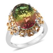 Rainbow Genesis Quartz, Cambodian Zircon 14K YG and Platinum Over Sterling Silver Ring (Size 7.0) TGW 10.73 cts.