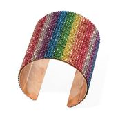 Multi Color Austrian Crystal Goldtone Elongated Cuff (7 in)