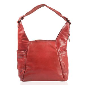 Red Genuine Leather RFID Hobo Bag (10X5X16.5 in)