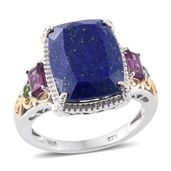 Lapis Lazuli, Orissa Rhodolite Garnet, Russian Diopside 14K YG and Platinum Over Sterling Silver Ring (Size 10.0) TGW 13.58 cts.