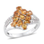 Yellow Sapphire, Cambodian Zircon Platinum Over Sterling Silver Ring (Size 8.0) TGW 2.90 cts.