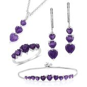 Amethyst Sterling Silver Bolo Bracelet (Adjustable), Lever Back Earrings, Ring (Size 5) and Pendant With Stainless Steel Chain (20.00 In) TGW 11.85 cts.