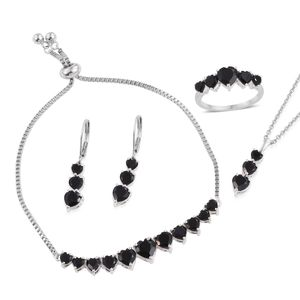 Thai Black Spinel Sterling Silver Bolo Bracelet (Adjustable), Lever Back Earrings, Ring (Size 5) and Pendant With Stainless Steel Chain (20.00 In) TGW 16.30 cts.