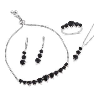 Thai Black Spinel Sterling Silver Bolo Bracelet (Adjustable), Lever Back Earrings, Ring (Size 7) and Pendant With Stainless Steel Chain (20.00 In) TGW 16.30 cts.