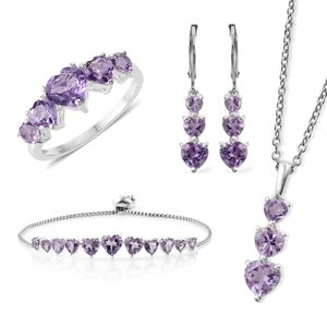 Rose De France Amethyst Sterling Silver Bolo Bracelet (Adjustable), Lever Back Earrings, Ring (Size 7) and Pendant With Stainless Steel Chain (20.00 In) TGW 11.40 cts.