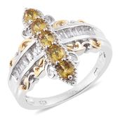 Marialite, White Topaz 14K YG and Platinum Over Sterling Silver Ring (Size 7.0) TGW 1.82 cts.