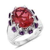 Salmon Quartz, Amethyst Platinum Over Sterling Silver Ring (Size 8.0) TGW 10.80 cts.
