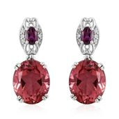 Salmon Quartz, Orissa Rhodolite Garnet, Cambodian Zircon Platinum Over Sterling Silver Earrings TGW 11.38 cts.
