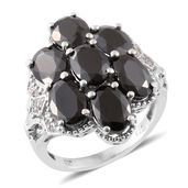 Shungite, Cambodian Zircon Platinum Over Sterling Silver Ring (Size 8.0) TGW 5.41 cts.