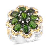 Russian Diopside 14K YG Over and Sterling Silver Ring (Size 6.0) TGW 5.35 cts.