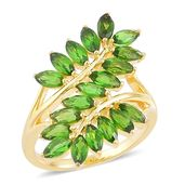 Russian Diopside 14K YG Over Sterling Silver Leaf Bypass Ring (Size 6.0) TGW 3.75 cts.