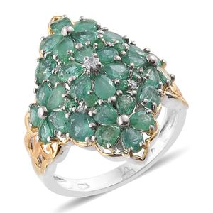 Kagem Zambian Emerald, Cambodian Zircon 14K YG and Platinum Over Sterling Silver Ring (Size 10.0) TGW 4.22 cts.