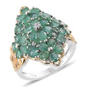 Kagem Zambian Emerald, Cambodian Zircon 14K YG and Platinum Over Sterling Silver Ring (Size 8.0) TGW 4.22 cts.