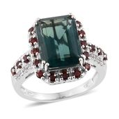 Belgian Teal Fluorite, Mozambique Garnet, Cambodian Zircon Platinum Over Sterling Silver Ring (Size 6.0) TGW 11.57 cts.