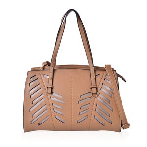 Tan Faux Leather Laser Cut Tote Bag (13x5x10 in)