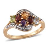 KARIS Collection - Mozambique Garnet, Multi Gemstone ION Plated 18K YG Brass Ring (Size 7.0) TGW 1.32 cts.