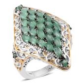 Kagem Zambian Emerald 14K YG and Platinum Over Sterling Silver Elongated Cocktail Ring (Size 10.0) TGW 3.63 cts.